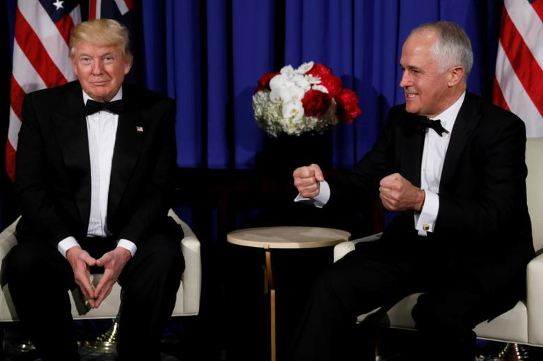 FILE PHOTO: U.S. President Donald Trump (L) and Australia's Prime Minister Malcolm Turnbull (R) deliver brief remarks to reporters in New York, U.S. May 4, 2017. REUTERS/Jonathan Ernst/File Photo
