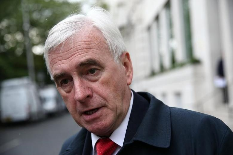 FILE PHOTO - Britain's opposition Labour Party's John McDonnell leaves a meeting with senior party figures after their election manifesto was leaked to the press, in London, May 11, 2017. REUTERS/Neil Hall
