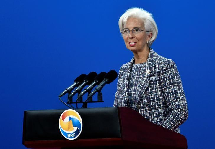 Managing Director of the International Monetary Fund (IMF) Christine Lagarde delivers a speech on Plenary Session of High-Level Dialogue, at the Belt and Road Forum in Beijing, China May 14, 2017. REUTERS/Kenzaburo Fukuhara/Pool