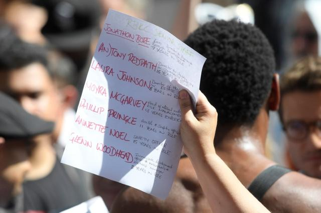A demonstrator holds a sheet of paper bearing names during a protest at Kensington Town Hall, following the fire that destroyed The Grenfell Tower block, in north Kensington, West London, Britain June 16, 2017. REUTERS/Toby Melville