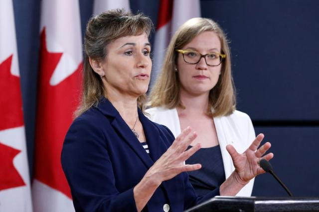 Communications Security Establishment (CSE) Chief Greta Bossenmaier (L) speaks during a news conference with Canada's Democratic Institutions Minister Karina Gould in Ottawa, Ontario, Canada, June 16, 2017. REUTERS/Chris Wattie
