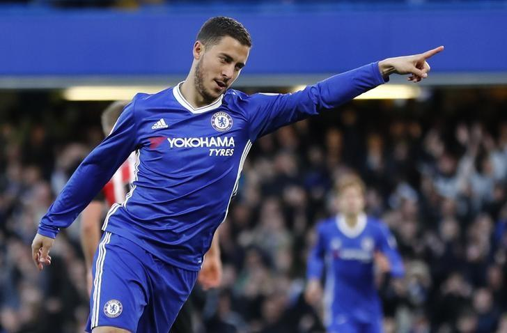 FILE PHOTO: Britain Football Soccer - Chelsea v Southampton - Premier League - Stamford Bridge - 25/4/17 Chelsea's Eden Hazard celebrates scoring their first goal  Reuters / Stefan Wermuth Livepic