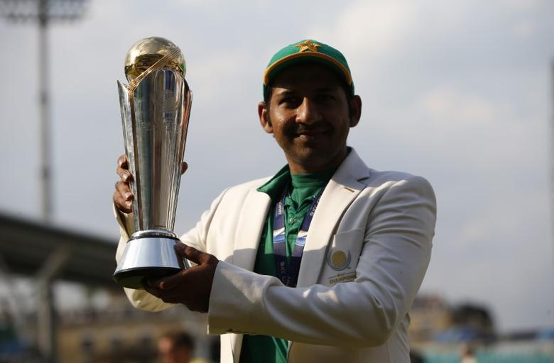 Britain Cricket - Pakistan v India - 2017 ICC Champions Trophy Final - The Oval - June 18, 2017 Pakistan's Sarfraz Ahmed poses as he celebrates winning the ICC Champions Trophy  Action Images via Reuters / Paul Childs Livepic
