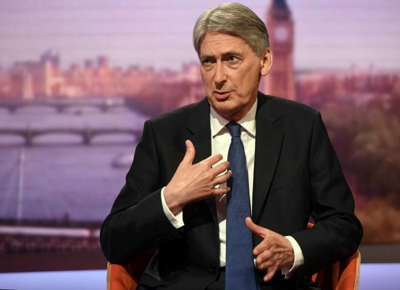 Britain's Chancellor of the Exchequer Philip Hammond speaks on the Andrew Marr show in London, June 18, 2017. Jeff Overs/BBC handout via REUTERS