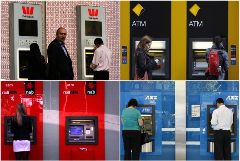 A combination of photographs shows people using automated teller machines (ATMs) at Australia's ''Big Four'' banks - Australia and New Zealand Banking Group Ltd (bottom R), Commonwealth Bank of Australia (top R), National Australia Bank Ltd (bottom L) and Westpac Banking Corp (top L).   REUTERS/Staff