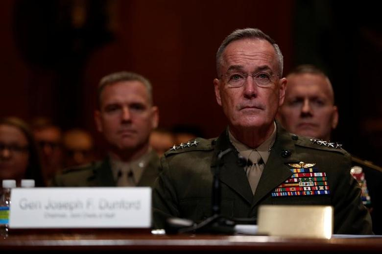 FILE PHOTO: Chairman of the Joint Chiefs of Staff U.S. Marine Corps General Joseph Dunford testifies at a Senate Appropriations Defense Subcommittee hearing on the defense budget Capitol Hill in Washington, U.S., March 22, 2017. REUTERS/Jonathan Ernst