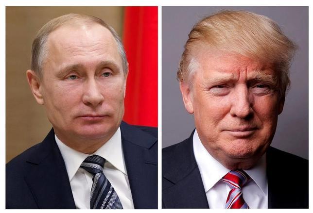 7月3日、ロシアのプーチン大統領(左)とトランプ米大統領が初めて顔を合わせる首脳会談の開催日程について、両政府が依然協議中であることが分かった。(2017年 ロイター/Ivan Sekretarev/Pool/Lucas Jackson)