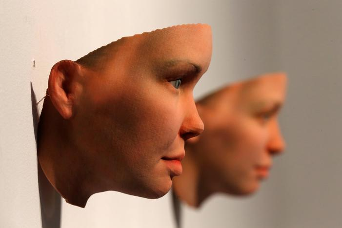 3-D printed masks created by Artist Heather Dewey-Hagborg from DNA extracted from cheek swabs and hair clippings she received from formerly imprisoned U.S. Army Private Chelsea Manning while she was in jail, are seen ahead of the August 2, 2017 opening of 'A Becoming Resemblance', an exhibition at the Fridman gallery in New York City, July 7, 2017. Mike Segar