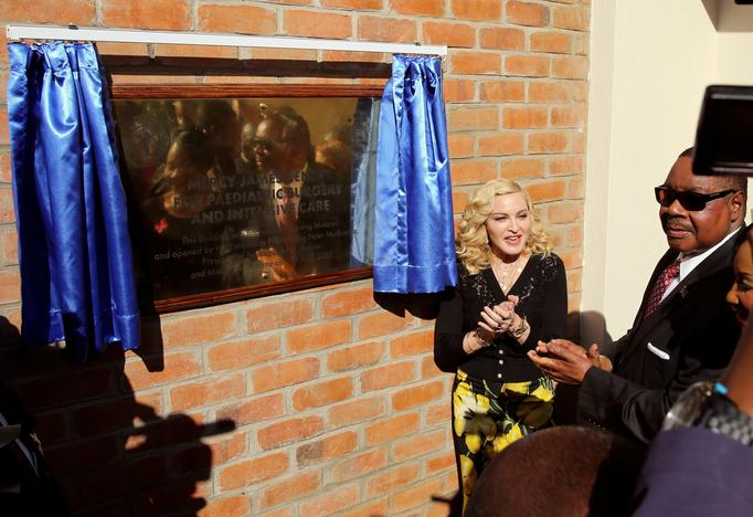 US pop star Madonna reacts during the opening of her Mercy James hospital in Blantyre, Malawi, July 11, 2017. Siphiwe Sibeko