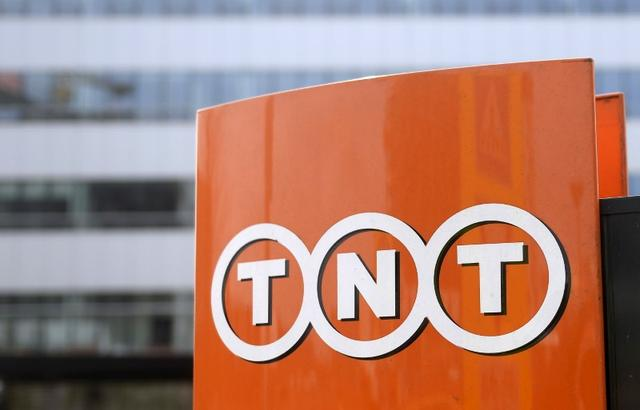 FILE PHOTO - The TNT Express logo is pictured at the headquarters in Hoofddorp April 7, 2015. REUTERS/Toussaint Kluiters/United Photos
