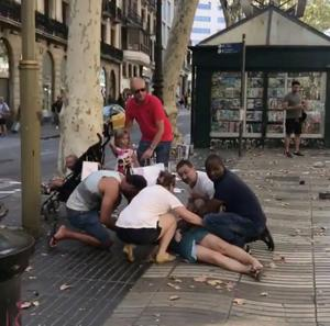 Van plows through crowd in Barcelona