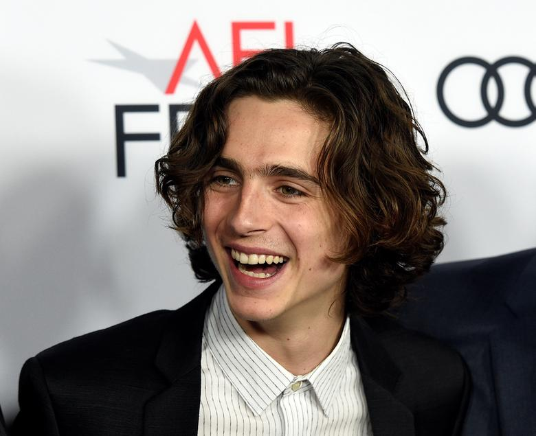 """Cast member Timothee Chalamet attends the premiere of """"Call Me By Your Name"""" during AFI Fest 2017 in Los Angeles November 10, 2017 via Reuters"""