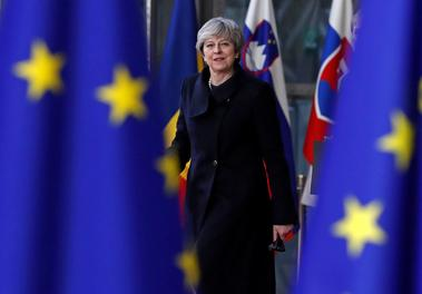 Britain's Prime Minister Theresa May arrives to attend the EU summit in...