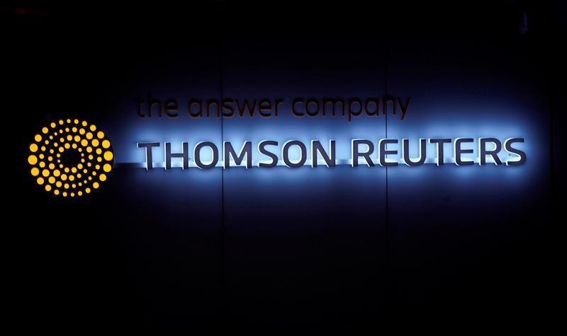 شعار تومسون رويترز في دافوس يوم 25 يناير كانون الثاني 2018. تصوير: دينيس  باليبوس - رويترز