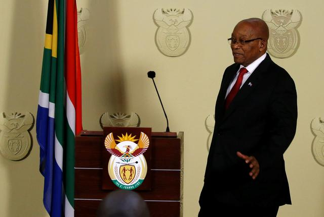 South Africa's President Jacob Zuma arrives to speak at the Union Buildings in Pretoria, South Africa, February 14, 2018. REUTERS/Siphiwe Sibeko