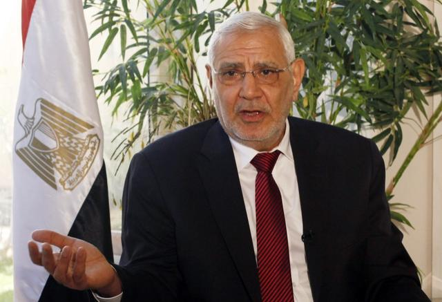 FILE PHOTO: Former presidential candidate  Abdel Moneim Abol Fotouh speaks during an interview with Reuters in Cairo February 11, 2014. REUTERS/Asmaa Waguih