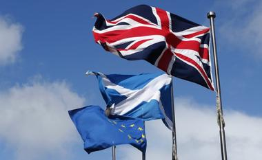 The Union flag,The Scottish Saltire and The European flag fly at the...
