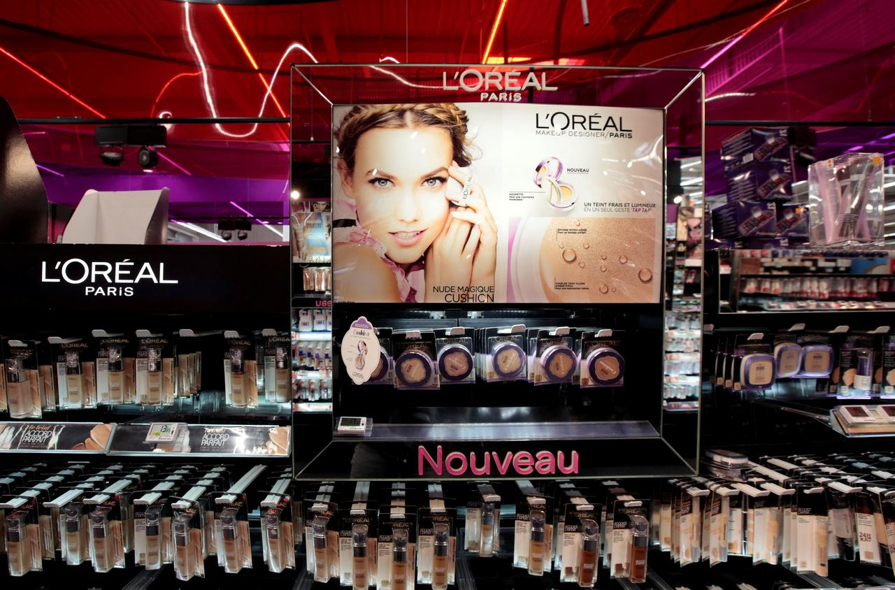 FILE PHOTO: A cosmetic display of French cosmetics group L'Oreal is seen at a Carrefour hypermarket in Nice, France, April 6, 2016.