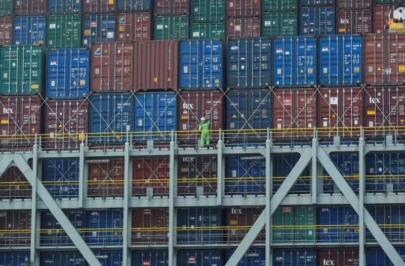 Freight containers are seen on a container ship at DP World, Southampton Docks, in Southampton, Britain, March 27, 2017.  Eddie Keogh