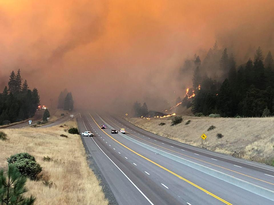 Smoke rises as the large delta fire spreads along Shasta County in California, U.S., September 5, 2018 in this picture obtained on September 6, 2018 from social media. CALIFORNIA HIGHWAY PATROL/via
