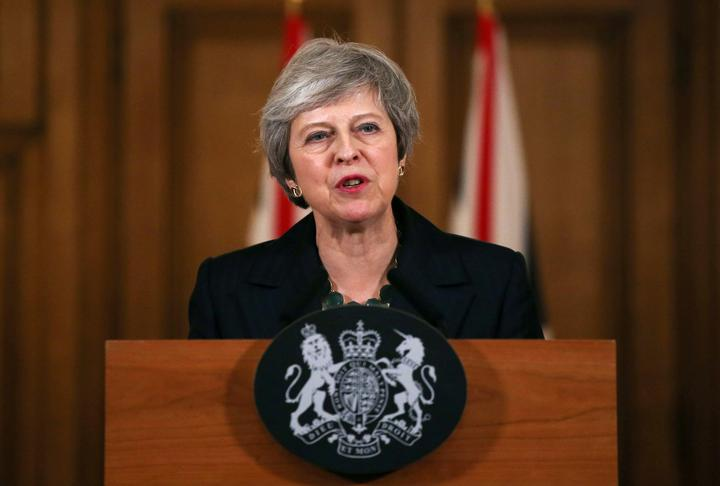 Britain's Prime Minister Theresa May holds a news conference at Downing...