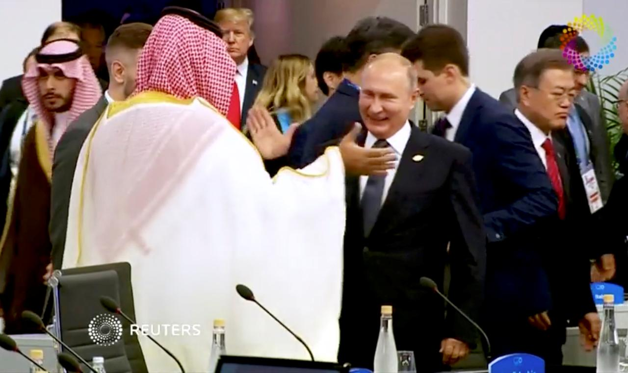 Image result for crown prince high five with putin