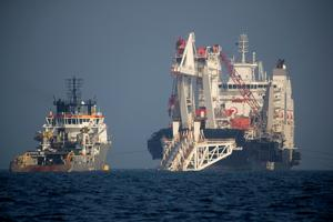 FILE PHOTO: The Nord Stream 2 pipe laying vessel Audacia is pictured off...