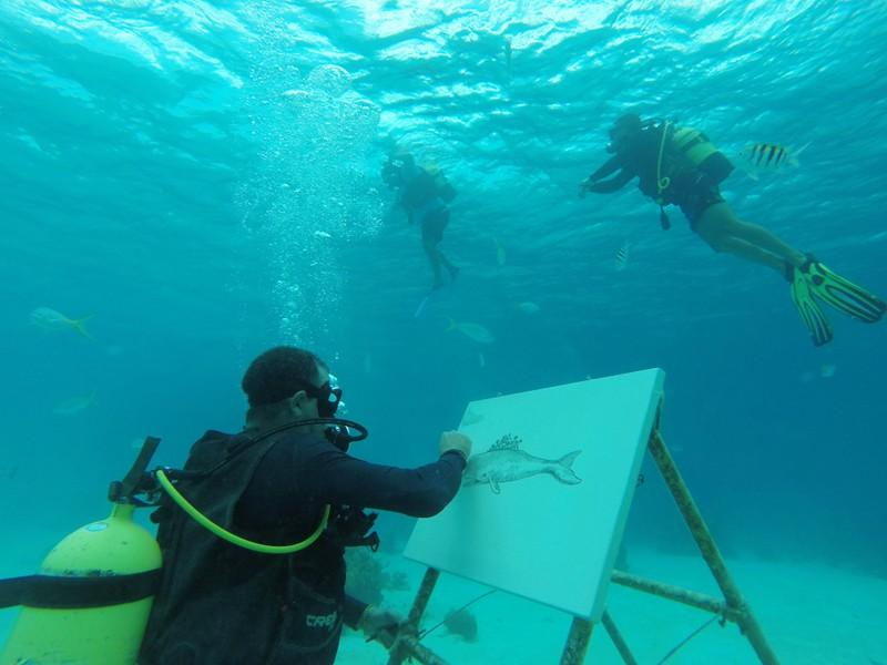Cuban artist sketches under the sea among fish and coral reefs