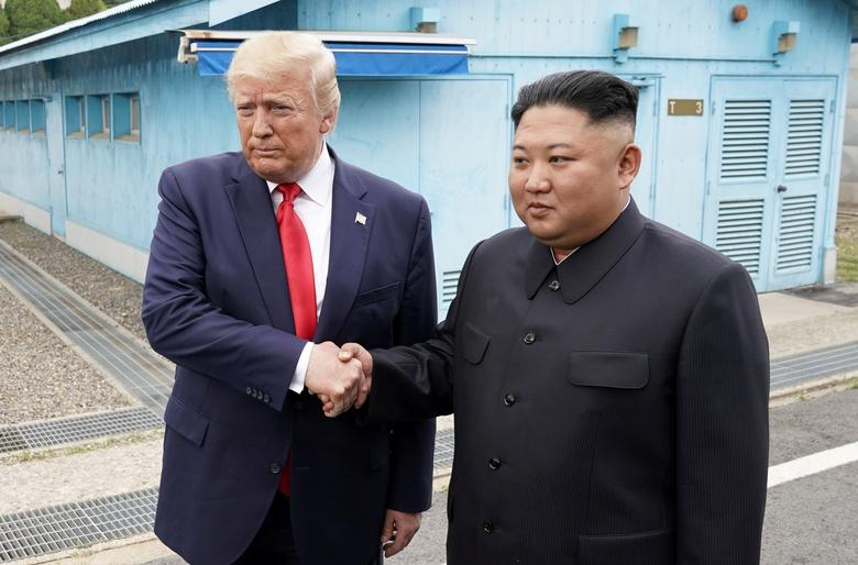 President Trump meets with Kim Jong Un at the demilitarized zone separating the two Koreas, in Panmunjom, South Korea. The drama was magnified by the choice of the Panmunjom truce village as the venue for his meeting with Kim, where 66 years ago Americans and North Koreans huddled to draw up the Military Demarcation Line following the bitter 1950-53 war.REUTERS/Kevin Lamarque