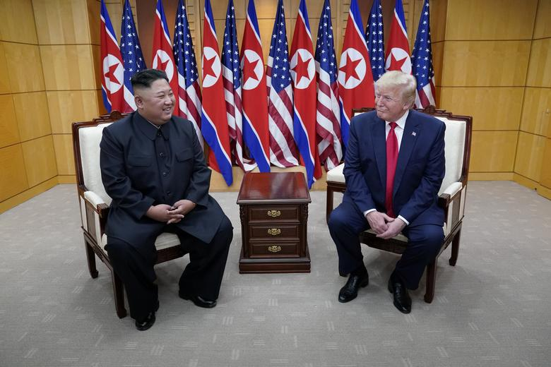 President Trump meets with Kim Jong Un at the demilitarized zone separating the two Koreas, in Panmunjom, South Korea. They agreed to direct officials to set up teams who will tackle the challenge of overcoming fundamental differences in positions that led to the collapse of their second summit in February in the Vietnamese capital, Hanoi.REUTERS/Kevin Lamarque