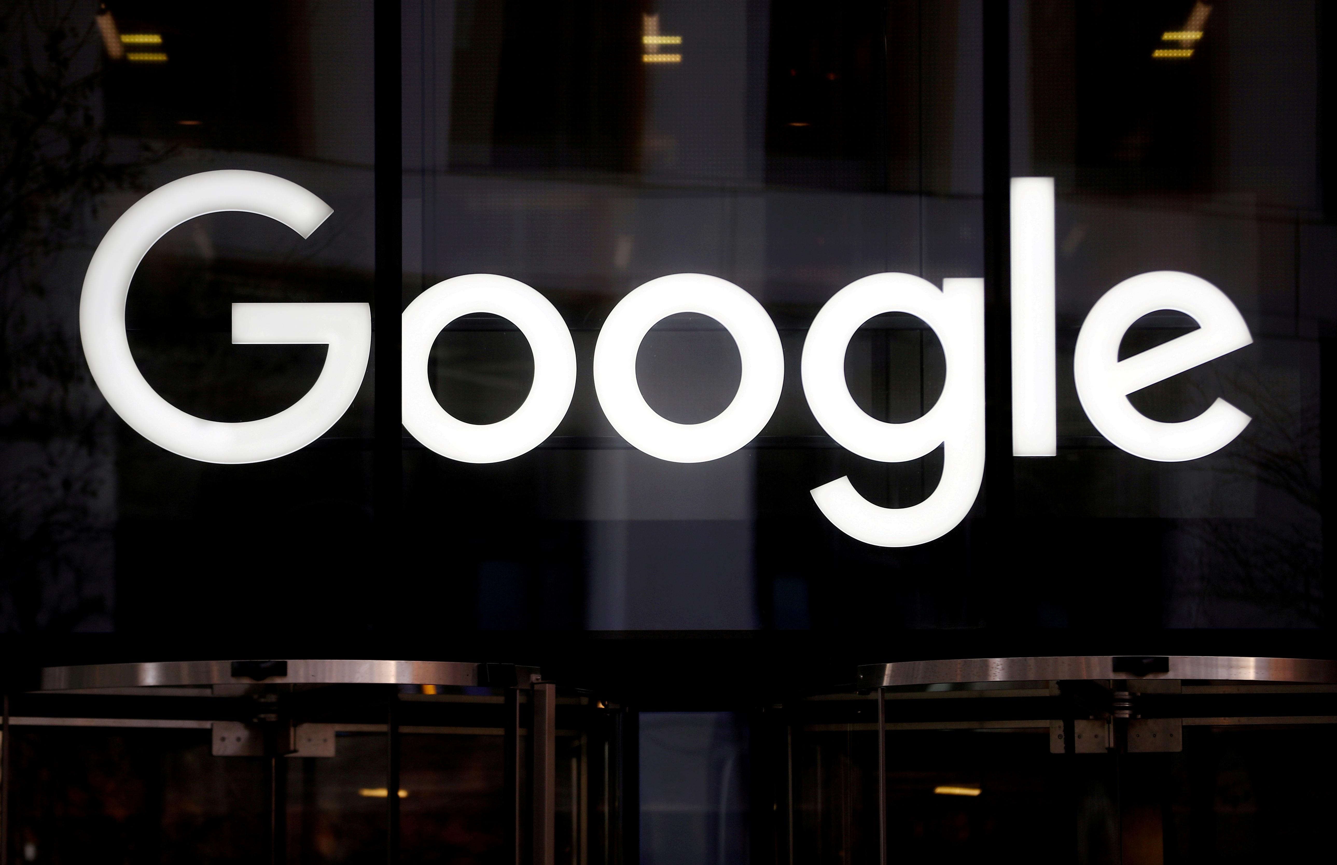 The Google logo is pictured at the entrance to the Google offices in London, Britain January 18, 2019. Hannah McKay