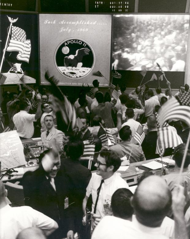Flight controllers celebrating the successful conclusion of the Apollo 11 lunar landing mission at the Mission Operations Control Room at the Johnson Space Center, July 24, 1969.   NASA/via REUTERS