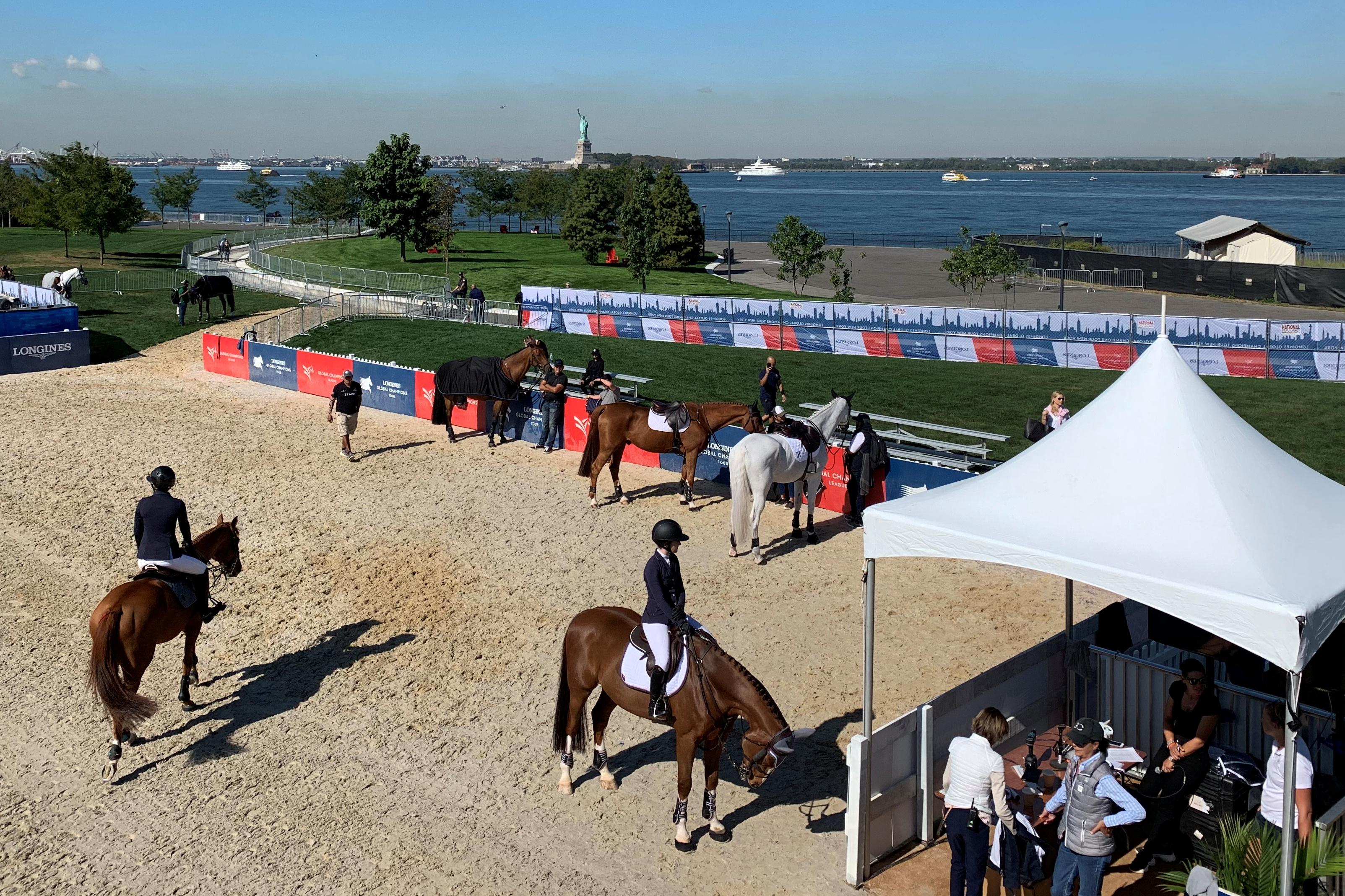 Equestrian: Horses take the ferry for show-jumping event on New...