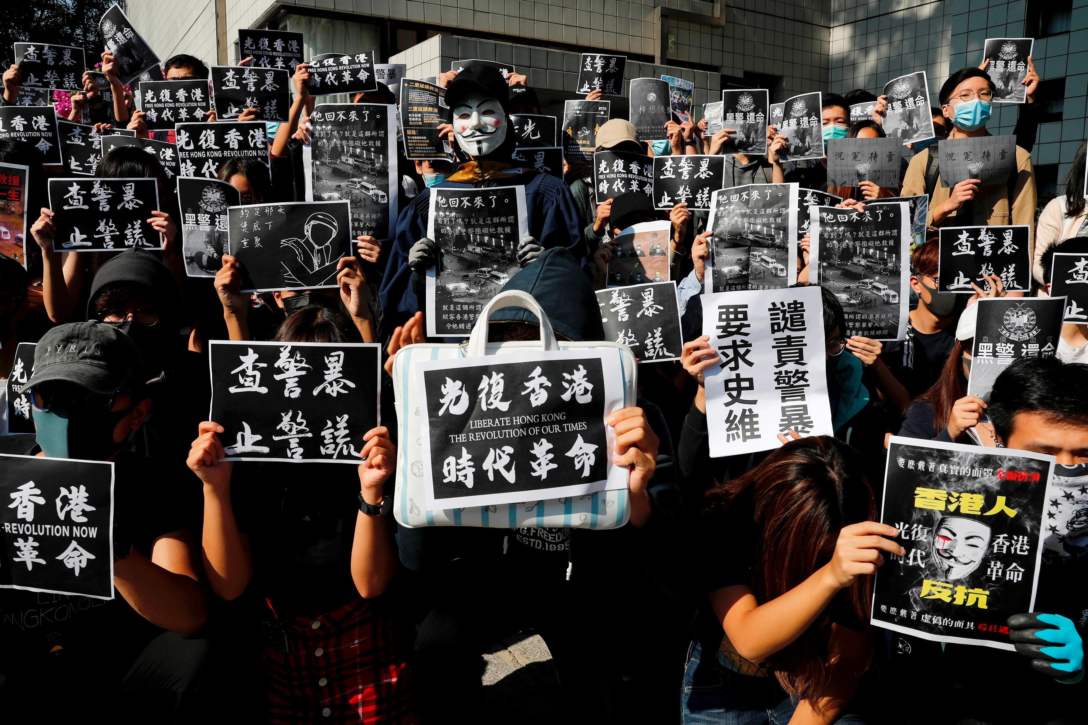 Hong Kong mourning for student spirals into street violence