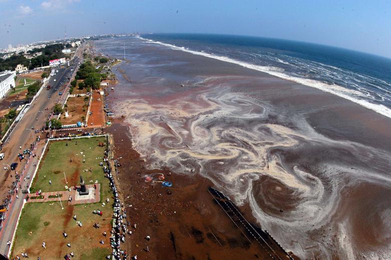 La vista aérea de la playa de Marina después de un tsunami provocado por un terremoto en el Océano Índico golpeó el área en la ciudad de Madras, en el sur de India, el 26 de diciembre de 2004. REUTERS / Babu