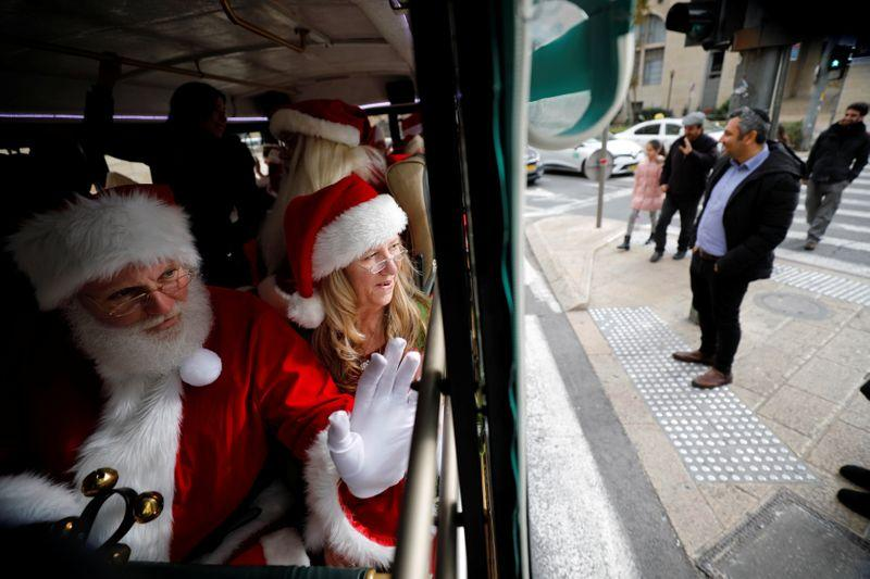 Trained American Santas hit Jerusalem for Orthodox Christmas