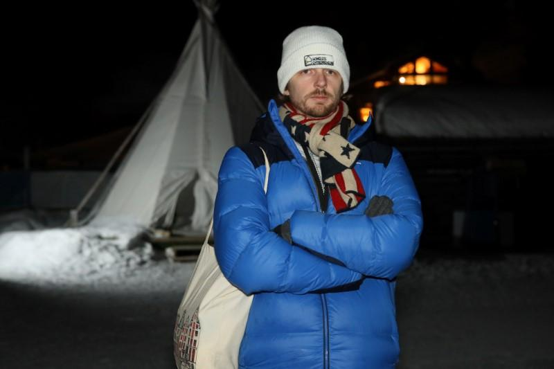 No digs at Davos? Teepee-dwellers shiver to highlight homelessness