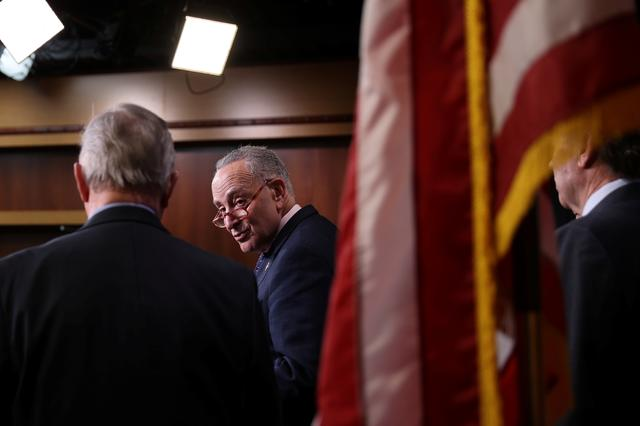 U.S. Senate Minority Leader Chuck Schumer (D-NY) holds a news conference after the final vote on the war powers resolution regarding potential military action against Iran, at the Capitol in Washington, U.S. February 13, 2020.  REUTERS/Jonathan Ernst