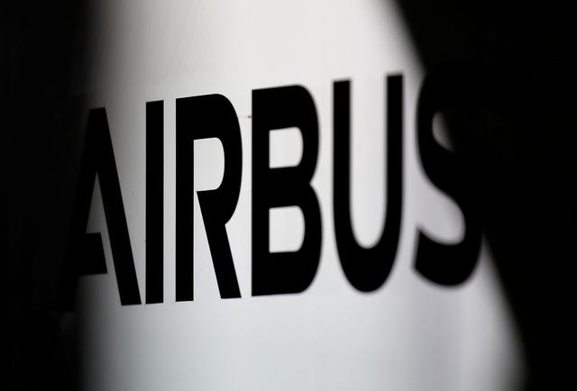 FILE PHOTO: The logo of Airbus is pictured at the aircraft builder's headquarters of Airbus in Colomiers near Toulouse, France, November 15, 2019. REUTERS/Regis Duvignau/File Photo