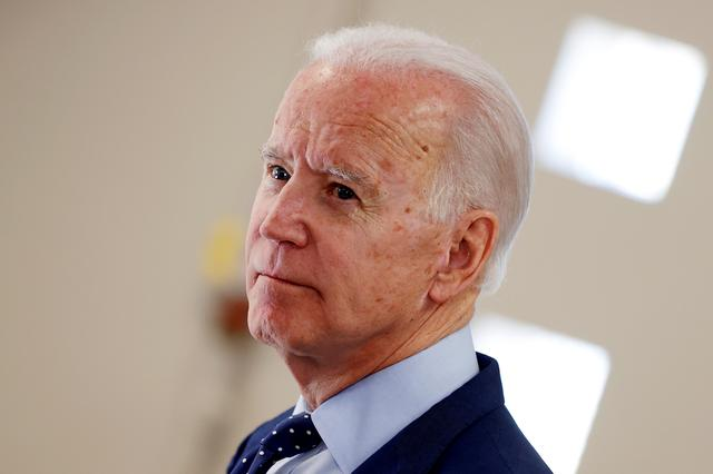 Democratic 2020 U.S. presidential candidate and former U.S. Vice President Joe Biden departs after delivering remarks as he joined gun violence survivors and activists in Las Vegas, Nevada, U.S., February 20, 2020. REUTERS/Mike Segar