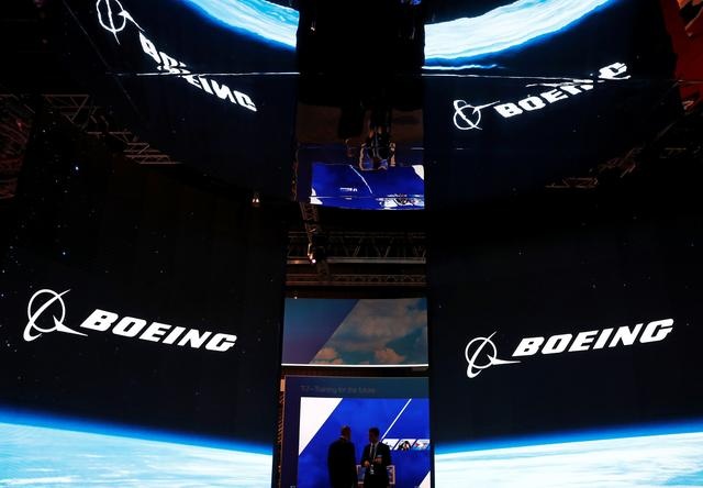 FILE PHOTO: A view of the Boeing booth at the Singapore Airshow in Singapore February 11, 2020. REUTERS/Edgar Su