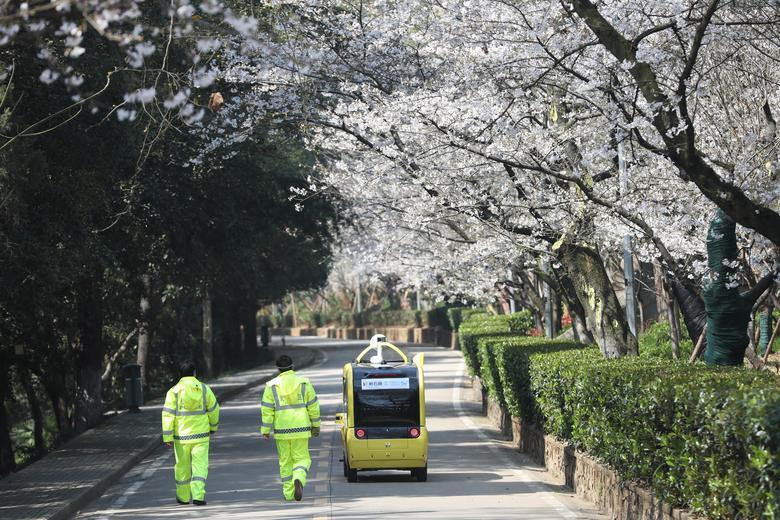 Сотрудники службы безопасности идут рядом с автономным транспортным средством с поддержкой 5G, на котором установлена камера, на которой снимают цветущие вишни для онлайн-трансляции в прямом эфире в закрытом Уханьском университете в Китае 17 марта 2020 года. China Daily via REUTERS