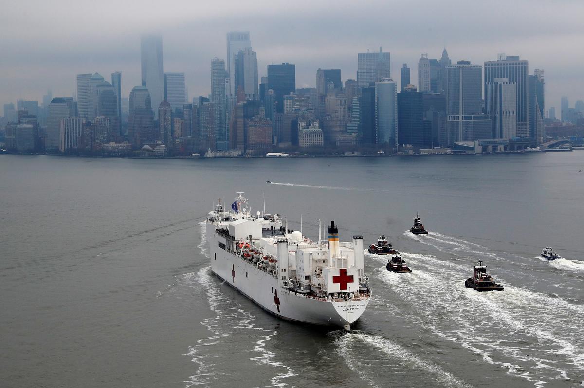 Navy hospital ship sails into New York, frontline...