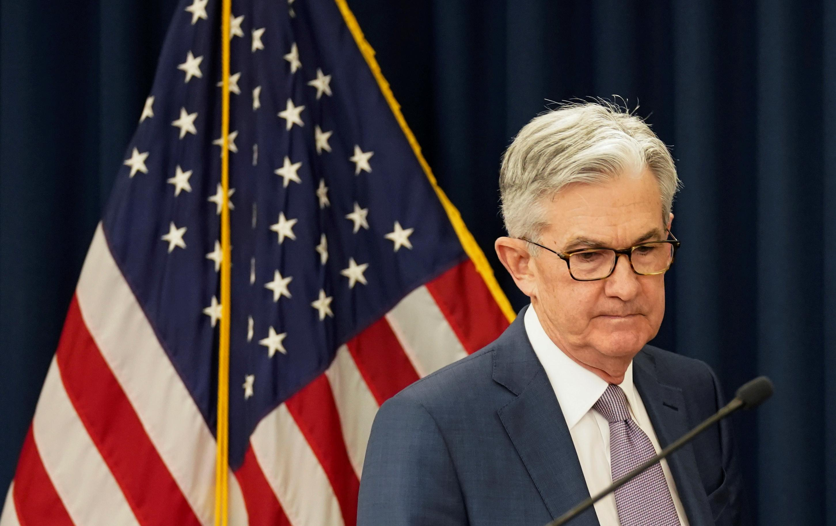 U.S. Federal Reserve Chairman Jerome Powell arrives to speak to reportersin Washington, U.S., March 3, 2020. Kevin Lamarque