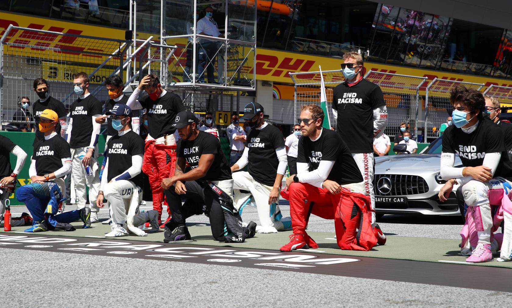 Lewis Hamilton Leads 14 Formula One Drivers to Take a Knee Against Racism Before Austrian Grand Prix