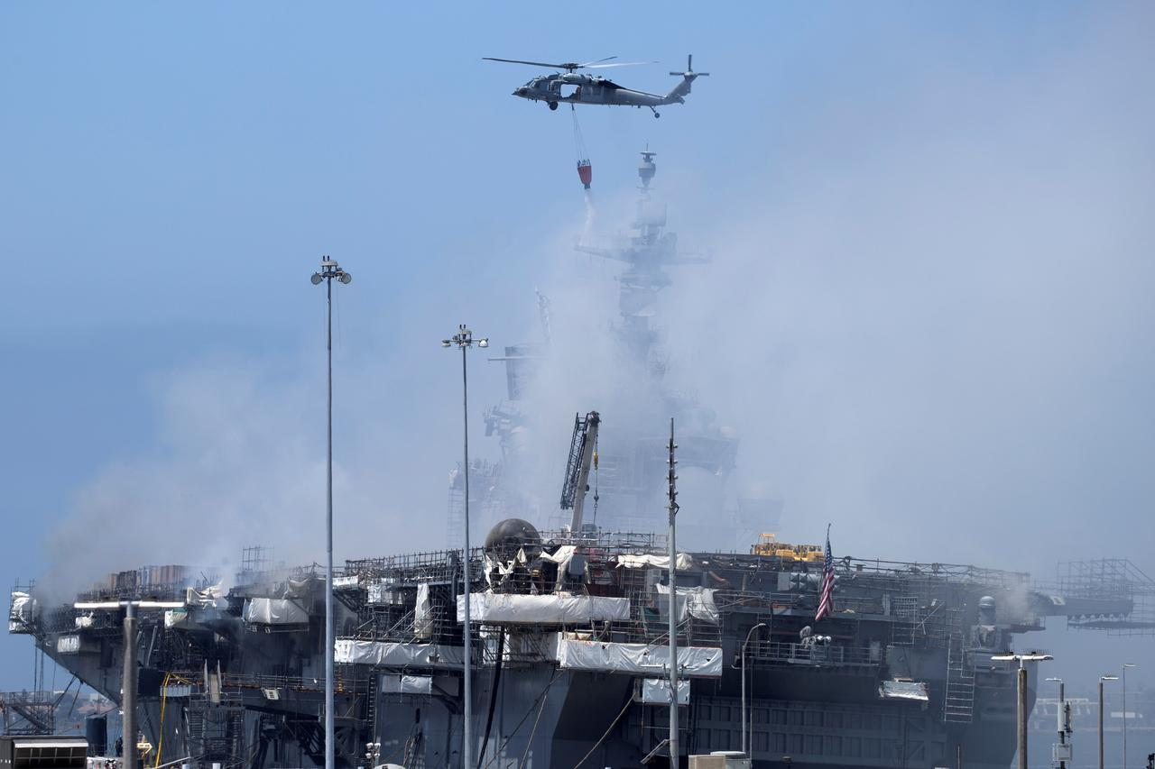 US Navy Helicopters • Combat Fire Aboard USS Bonhomme • San Diego July 13, 2020
