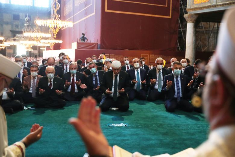 Turkish President Tayyip Erdogan attends Friday prayers at Hagia Sophia Grand Mosque, July <span dir=