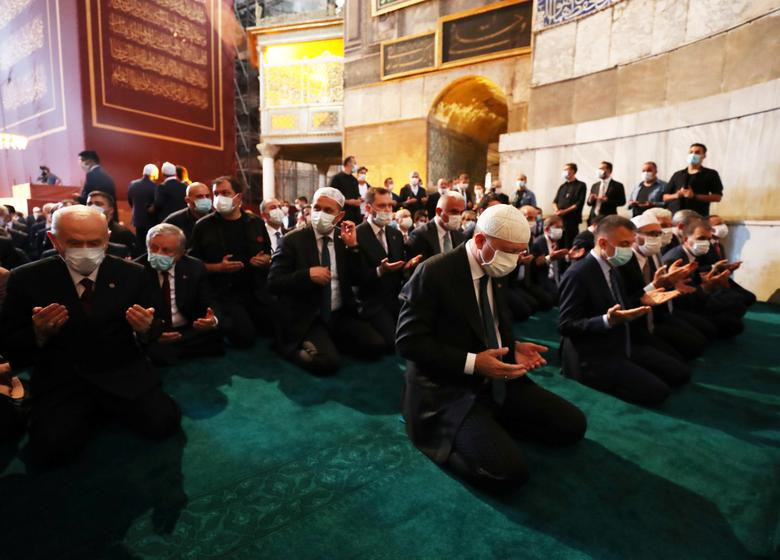 Turkey's President Tayyip Erdogan attends Friday prayers at Hagia Sophia Grand Mosque, July <span dir=