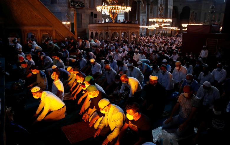 Worshippers attend afternoon prayers and visit Hagia Sophia Grand Mosque, July <span dir=