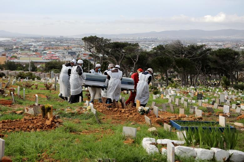Family members and funeral workers carry the coffin of a 51-year-old man who died from the coronavirus at a cemetery in Cape Town, South Africa, May 12. REUTERS/Sumaya Hisham